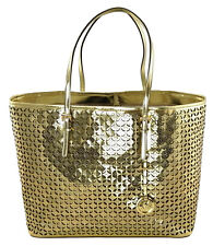 Michael Kors MK Flower Perforated Travel Tote Bag Gold Leather Large