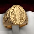 Bague chevalière marie jesus christ croyant gitan religion doré