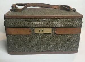 Hartmann Luggage Walnut Tweed Vintage Train Make Up Case Bag