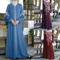 Long Sleeve Lace Party Women Dress Kaftan Maxi Muslim Stitching Arab Abaya