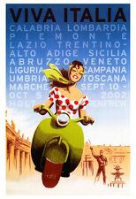 Vintage Italian Travel Poster, Viva Italia, Vespa, Rome, Sicily, Tuscany, Italy