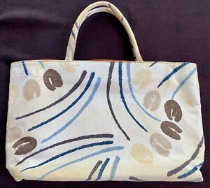 "vintage Margaret Smith canvas bucket tote bag tan+tulip print fabric 15x9x3.5"""