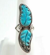 NAVAJO ROBIN WOOD STERLING SILVER DOUBLE CARVED FEATHER TURQUOISE SIZE 7 RING