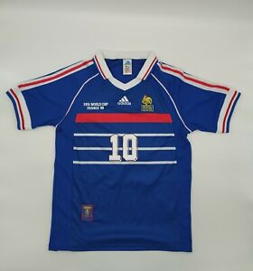France National Team Jersey World Cup 1998 Final Size Large Zidane Blue-Red Whte