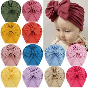 Kids Toddler Baby Turban Bow Knot Head Wrap Cute Boys Girls Beanie Hat Cap #&