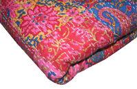 KING Vintage Indian Sari patch Handmade Kantha Quilt Bedspread Boho Throw cover
