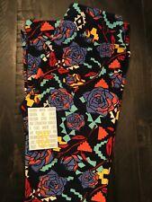 NWOT LulaRoe - OS Leggings - Navy Background with Roses - Aztec Feel
