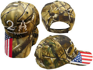 2A 2nd Amendment 1791 USA Flag On Bill Embroidered Camouflage Camo Cap Hat