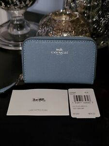 NWT! COACH Cossgrain Leather Zip Around Accordion Wallet Small Slate