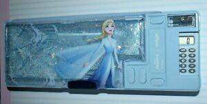 Smiggle Frozen II Pop Out Pencil Case with Calculator Blue neon Elsa Anna gliter