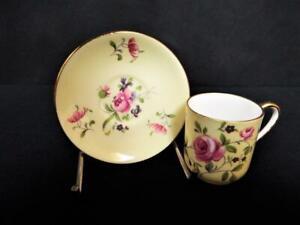 ANTIQUE SHELLEY CHINA ENGLAND RARE CANTEBURY MINIATURE ROSE CUP & SAUCER 1930's