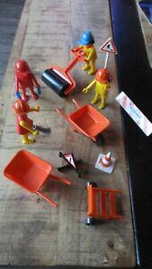 Playmobil-Lot Personnages,chantiers,signalisation,travaux&accessoires-1974/1975-