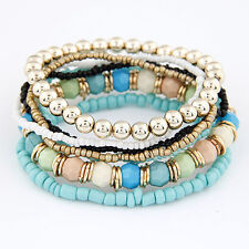 New Women MutiLayer Beads Bracelets Bangles for Women Elastic Strand Pulseras