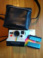 Vintage polaroid One Step Land Camera with original case and 2 pack flash bar