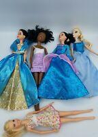 Mattel Disney Barbie Fashion Princess Dolls with Dress Lot 5