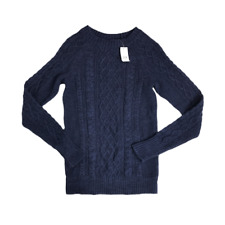 Gap Cable Knit Jumper Size XS Navy Cotton Pullover Long Sleeve Crew Neck Stretch