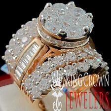 BIG BOLD LADIES ROSE GOLD FINISH REAL STERLING SILVER BRIDAL WEDDING RING BAND