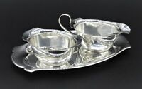 ART NOUVEAU CREAMER MILK JUG POURER SUGAR BOWL SET WITH TRAY SILVER PLATED