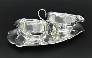 STUNNING ART NOUVEAU CREAMER MILK JUG POURER SUGAR BOWL WITH TRAY SILVER PLATED