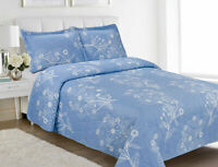 Three (3) Piece Embossed Printed Bedspread Set-Light Blue w/ White Flowers-Queen