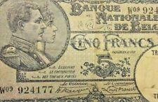 """5 francs type """"1919""""  Belgique 1928 <==>> 1938 #F6#"""