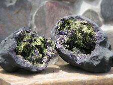 Large Dyed Agate Crystal Geode 880 grams Purple Green/Gold