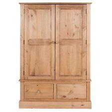 Wardrobe 2 Door 2 Drawer Large Wardrobe Thule Solid Pine Wood Bedroom Furniture