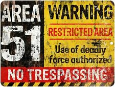 Area 51 Warning Sign Metal Wall Plaque Aliens Meme Rustic Home Decoration UFO