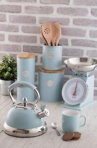 Typhoon Living Tea Coffee Sugar, Bread Bin, Kettle, Scales, Storage Tins - Blue
