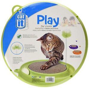 Catit Play 'N' Scratch Scratcher & Toy Cat Kitten Scratching Pad Green