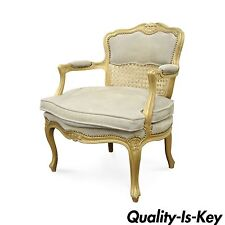 Fratelli Boffi French Louis XV Styl Gold Suede Cane Back Bergere Arm Chair Italy