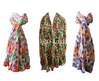 Indian Floral Cotton Scarves Stole Dupatta Multi Coloured Women Scarf Lot 5 Pcs