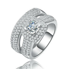 Sterling Silver CZ Princess Cut Pave Set Engagement Ring Wedding Band Set 5-10