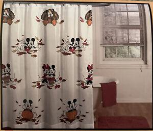 Disney Fall Mickey Minnie Mouse Pumpkin Apple Turkey Fabric Shower Curtain 72x72