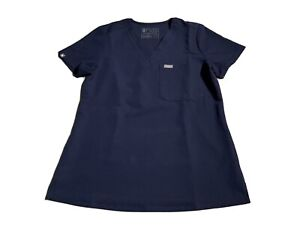 FIGS Technical Collection Scrubs Women's Blue Top Poly Rayon Spandex Size XS