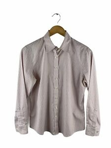 Lands' End Button Up Shirt Women Size 8 Pink Striped Long Sleeve Collared Casual