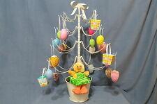 Easter Decor - Metal Tree in Pot Decorated w Fabric & Plastic Eggs & Baskets 27""