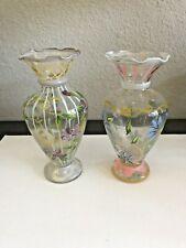 2 Small Antique Art Enameled Blown Glass Vase