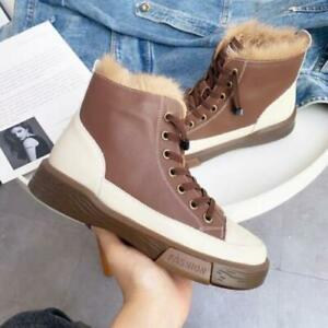 Womens Fashion Leather Two Tone Rabbit Fur Lace Up Combat Ankle Boots Shoes SUNS