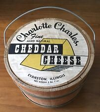 Antique Pine Wood Banded Bucket Charlotte Charles Cheddar Cheese Box Evanston IL