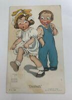 """Vintage Artist Signed Postcard  """"CHESTNUTS""""  CHILDREN POSTED 1909 GASSAWAY"""