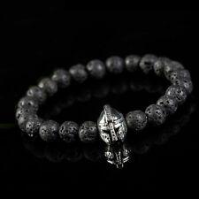 Roman Helmet Bracelet Black Rock Lava Charm Beads 8mm 18cm Stone Silver