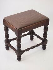 Small Antique Victorian Oak Stool - Gothic Piano Bench Dressing Table Chair