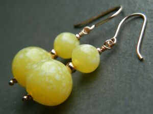 Art Deco Yellow & White Marbled URANIUM Glass Beads & Rolled Rose Gold Earrings
