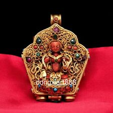 Tibet Pure silver inlay coral Four arms Guanyin niche for Buddha Amulet Pendants