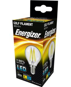 x 5 Energizer 4w (=40w) LED Clear Filament Golf Ball Bulbs, Extra Warm White SES