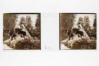 Modalità Donna Francia Foto Placca Da Lente Stereo Positivo Vintage Ca 1910