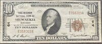 USA 10 Dollar 1929 National Currency $10 Milwaukee Selten Banknote #22091