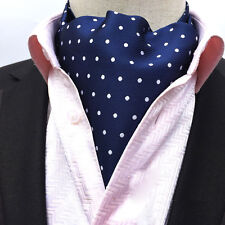 Men Blue Stripe Cravat Scarves White Polka Dots Ascot Wedding Necktie LJA17