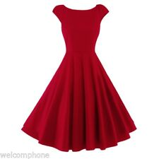 Women 50s Vintage Pleated Short Sleeve Knee Length Evening Party Cocktail Dress
